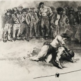 The fighter, an art piece by Edgar Chahine (1874-1947)