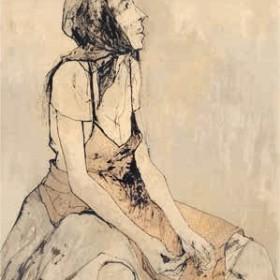 Red Apron, an art piece by Jean Jansem (1920 – 2013)