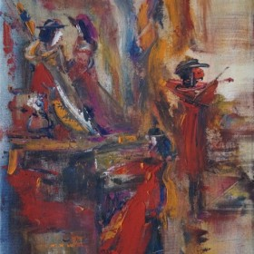 Red Violinist, an art piece by Samvel Harutyunyan