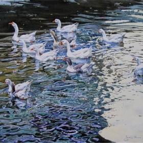 Summertime. Geese., an art piece by Igor Pron