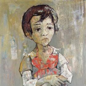 Girl in red dress, an art piece by Jean Jansem (1920 – 2013)