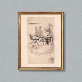 Les bouquinistes du quai Saint Michel, an art piece by Edgar Chahine (1874-1947)